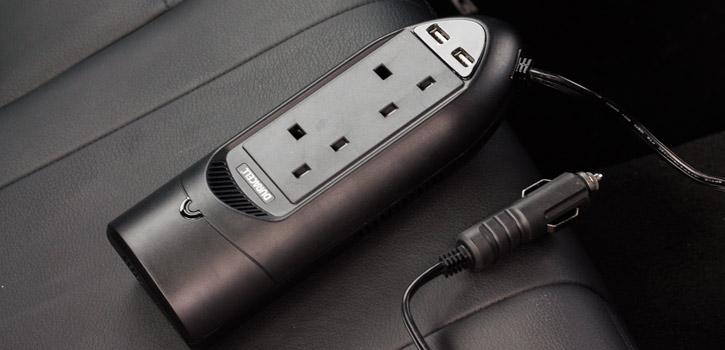 Chargeur voiture Duracell double USB et double prise secteur – Noir