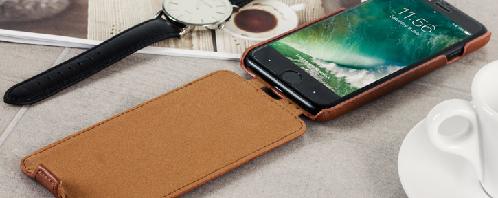 Caseual Genuine Leather iPhone 7 Flip Cover - Italian Tan