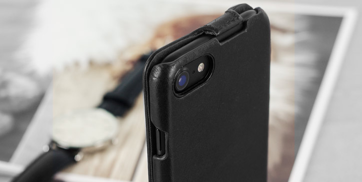 Caseual Genuine Leather iPhone 7 Flip Cover - Italian Black