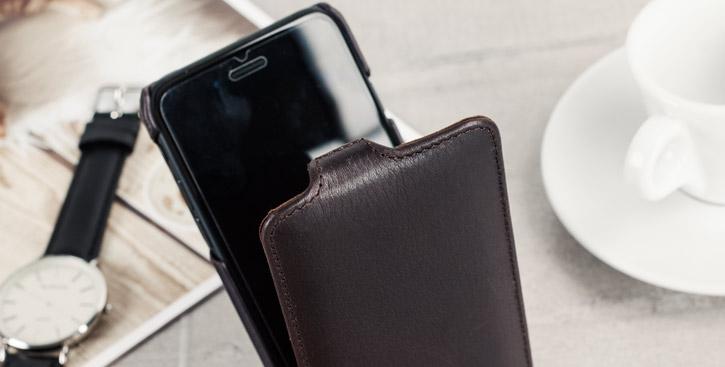 Caseual Genuine Leather iPhone 7 Flip Cover - Italian Black