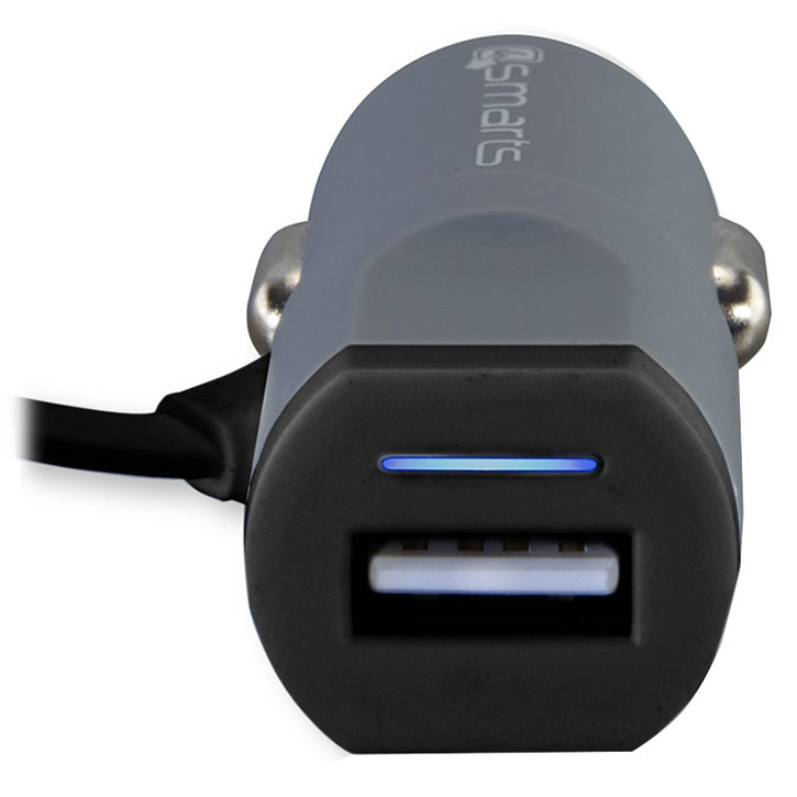 4Smarts MultiCord 3.4A Micro USB & USB-C Car Charger - Black / Grey