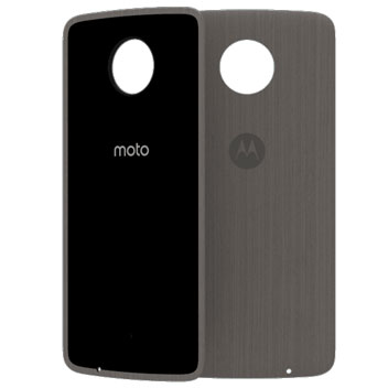 Official Motorola Moto Z Shell Wood Style Back Cover - Silver Oak