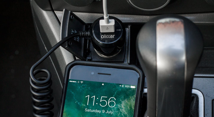 Olixar Super Fast Lightning Car Charger with USB Port - Black