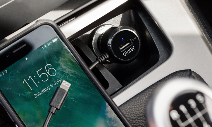 Olixar Super Fast Lightning Car Charger with USB Port - 4.8A - Black