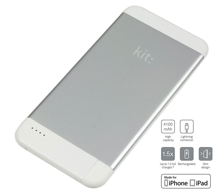 Kit Executive 4,100mAh Portable Lightning Power Bank - Silver