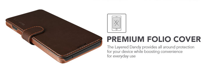 VRS Design Dandy Leather-Style LG V20 Wallet Case - Brown
