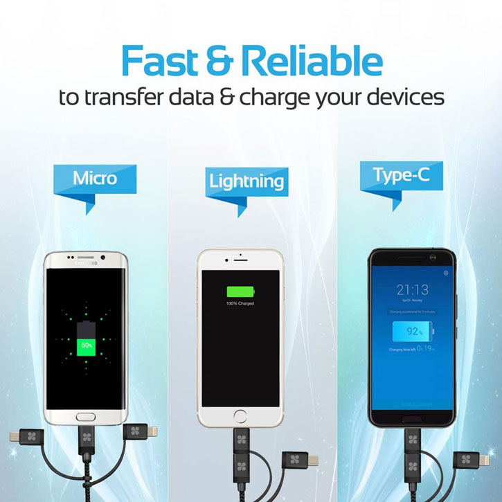 Promate uniLink Trio MFi 3-in-1 Multifunctional Charge & Sync Cable