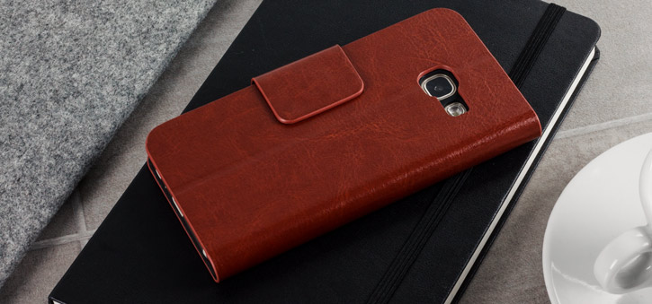Olixar Leather-Style Samsung Galaxy A3 2017 Wallet Case - Brown
