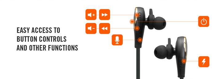 is, spigen essential r12e bluetooth headphones black front and