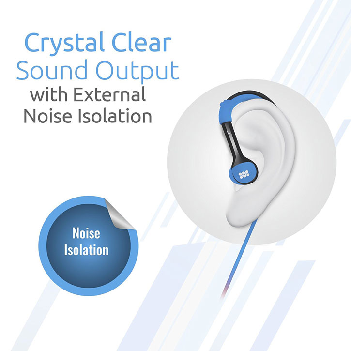 Promate Natty In-Ear Sports Headphones with Ear Hooks - Blue