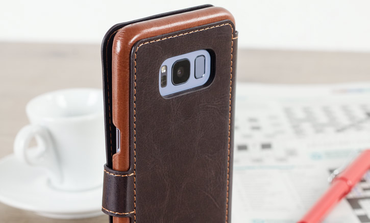 Housse Samsung Galaxy S8 VRS Design Dandy Simili Cuir - Marron vue sur appareil photo