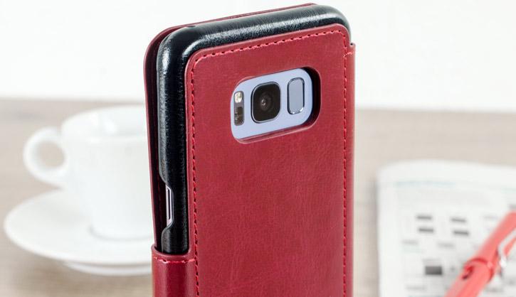 Housse Samsung Galaxy S8 VRS Design Dandy Simili Cuir - Rouge vue sur appareil photo
