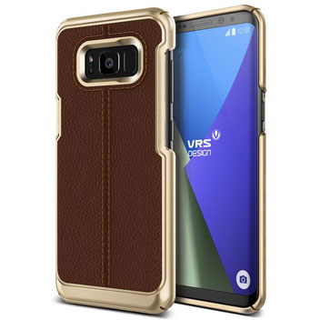 VRS Design Simpli Mod Leather-Style Samsung Galaxy S8 Plus Case -Brown