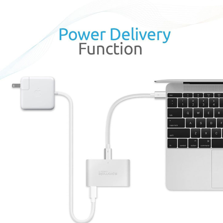 Promate uniHub-C 4-in-1 Compact USB C Hub with Power Deilvery - Silver