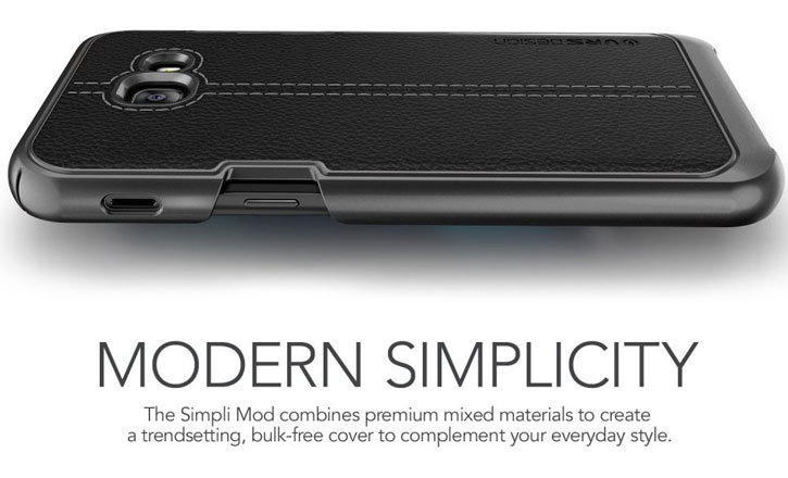 VRS Design Simpli Mod Leather-Style Samsung Galaxy A5 2017 Case- Black