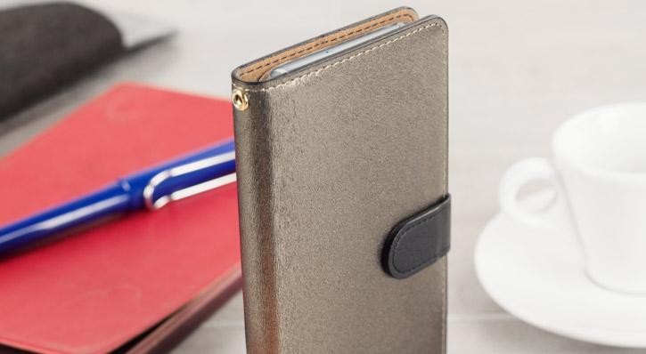Hansmare Calf Samsung Galaxy A5 2017 Wallet Case - Black