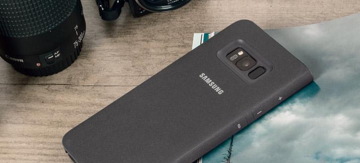 LED Flip Wallet Cover Officielle Samsung Galaxy S8 - Noire vue sur appareil photo