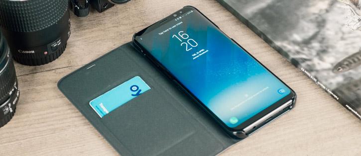 LED Flip Wallet Cover Officielle Samsung Galaxy S8 - Noire vue sur ports