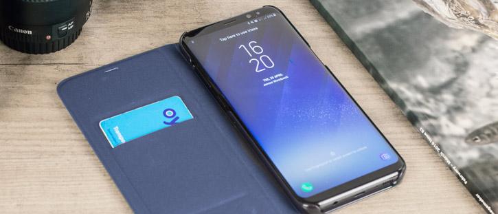 LED Flip Wallet Cover Officielle Samsung Galaxy S8 Plus - Bleue vue sur ports