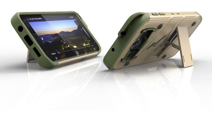 Zizo Bolt Series Samsung Galaxy S7 Edge Tough Case & Belt Clip - Gold