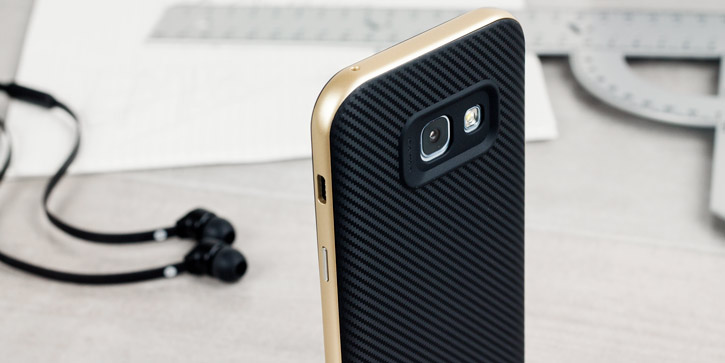 Olixar X-Duo Samsung Galaxy A3 2017 Case - Carbon Fibre Gold