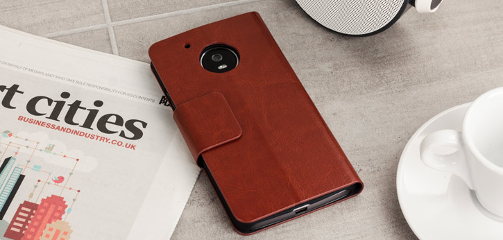 Olixar Leather-Style Moto G5 Plus Wallet Stand Case - Brown