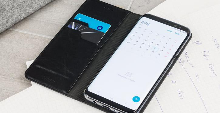 Olixar Genuine Leather Samsung Galaxy S8 Executive Wallet Case - Black