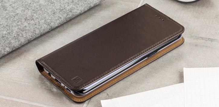 Olixar Genuine Leather Samsung Galaxy S8 Executive Wallet Case - Brown