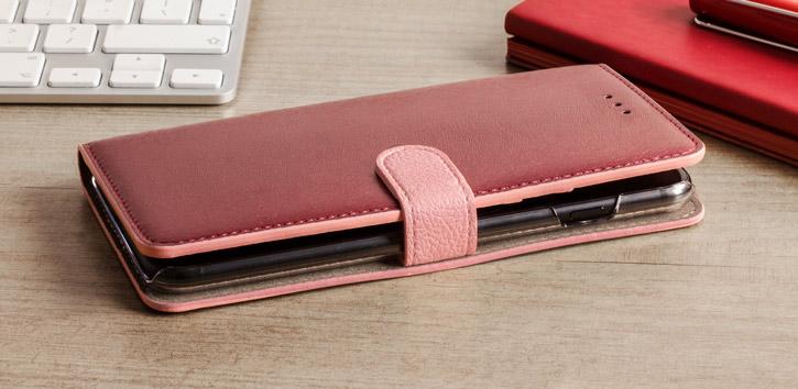 Hansmare Calf LG G6 Wallet Case - Pink