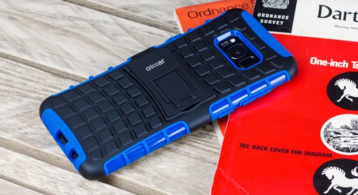 Coque Samsung Galaxy S8 Plus ArmourDillo protectrice – Bleue vue sur appareil photo
