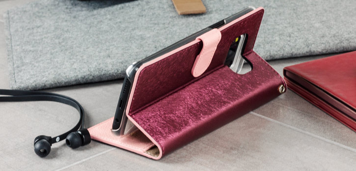 Hansmare Calf Samsung Galaxy S8 Wallet Case - Wine / Pink