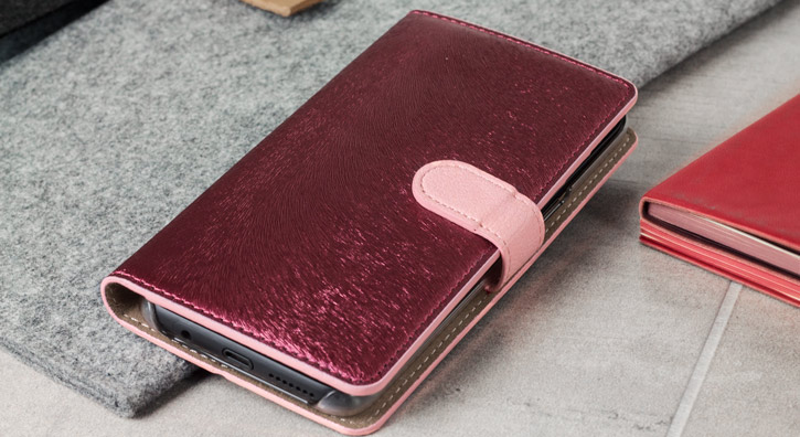 Hansmare Calf Samsung Galaxy S8 Wallet Case - Wine / Pink
