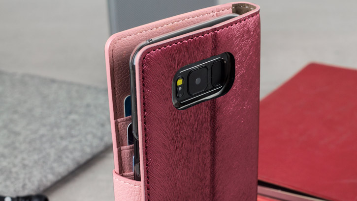 Hansmare Calf Samsung Galaxy S8 Plus Wallet Case - Wine / Pink