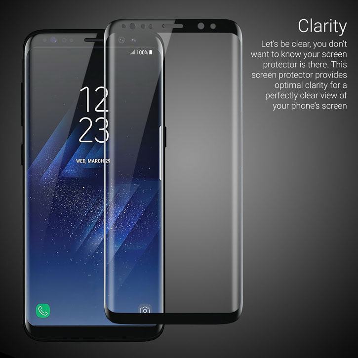 olixar galaxy s8 plus full cover glass screen protector black. Black Bedroom Furniture Sets. Home Design Ideas