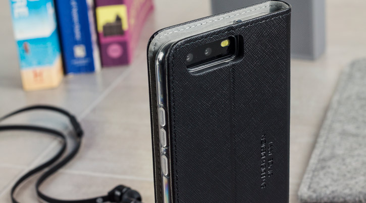 Housse Huawei P10 Krusell Malmo avec rabat – Noire vue sur appareil photo