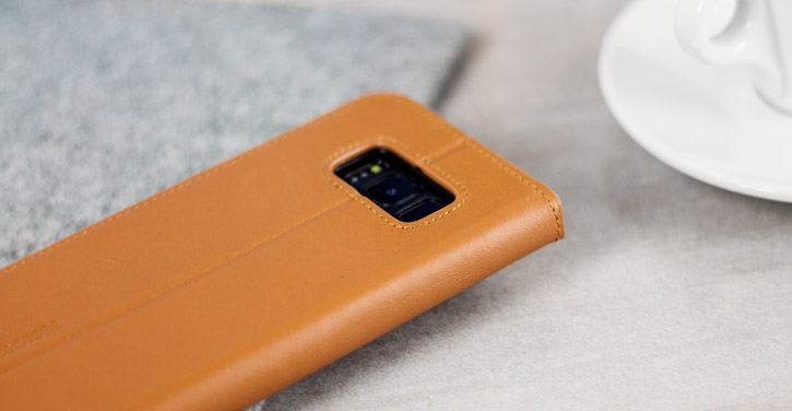 Beyza Arya Folio P Samsung Galaxy S8 Plus Leather Stand Case - Tan