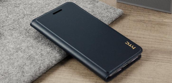 Official HTC U Play Genuine Leather Flip Case - Dark Blue