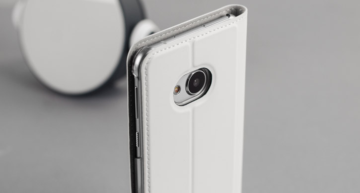 Official HTC U Play Genuine Leather Flip Case - Milky White