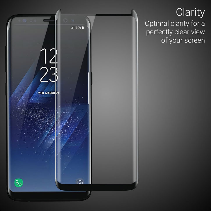 reputable site 6f8f6 f2fb2 Olixar Galaxy S8 Case Compatible Glass Screen Protector - Black