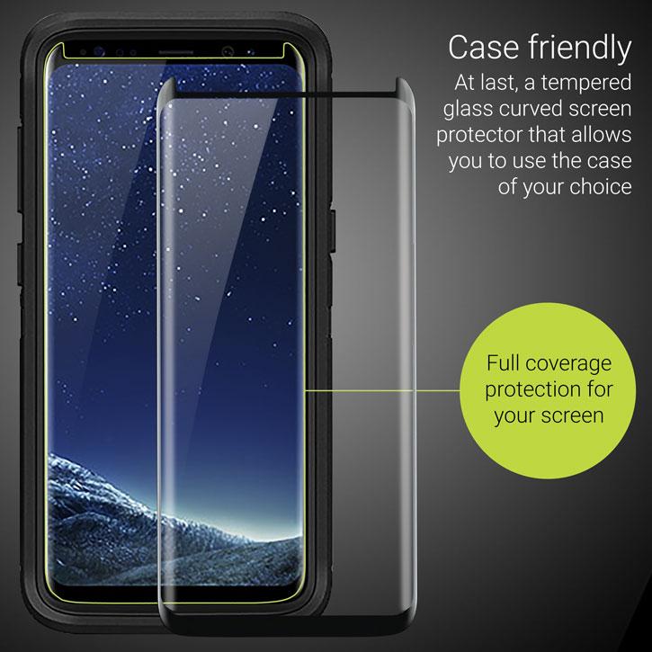 reputable site 3cf68 50bf9 Olixar Galaxy S8 Case Compatible Glass Screen Protector - Black
