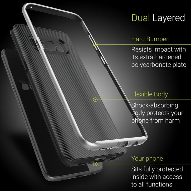 Olixar X-Duo Samsung Galaxy S8 Plus Case - Carbon Fibre Silver