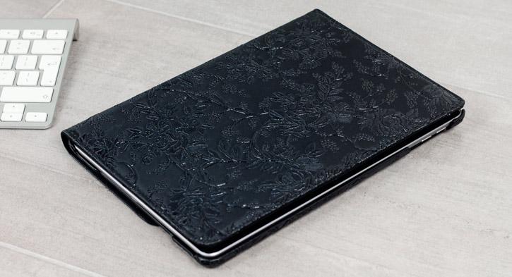 Olixar Floral Pattern Rotating Apple iPad 2017 Smart Case - Black