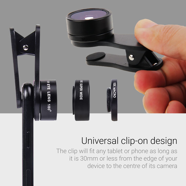 Olixar Premium 3-in-1 Universal Clip HD Camera Lens Kit