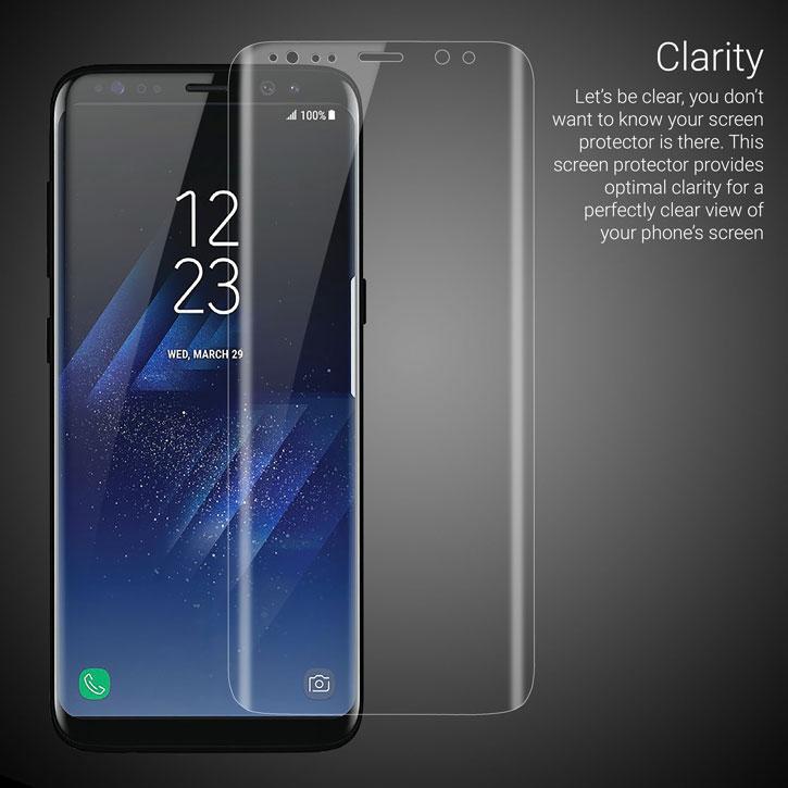 Protection d'écran Galaxy S8 Olixar en verre trempé incurvé – Noire
