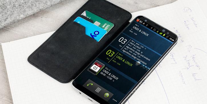Olixar Slim Genuine Leather Flip Samsung Galaxy S8 Wallet Case - Black