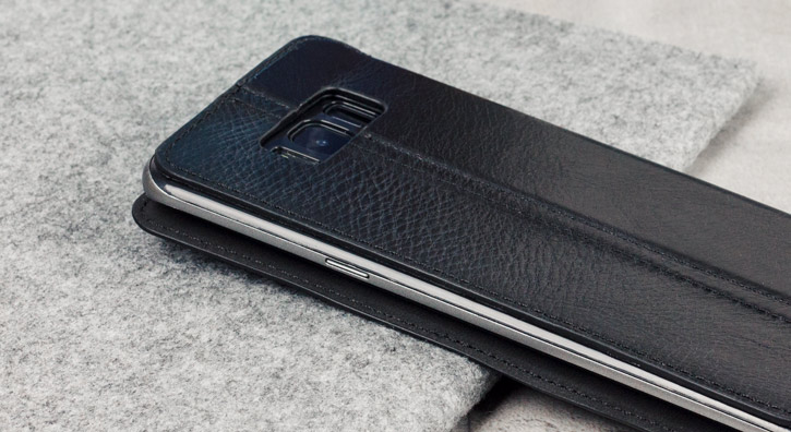 Olixar Slim Genuine Leather Flip Galaxy S8 Plus Wallet Case - Black