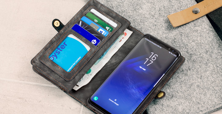 Luxury Samsung Galaxy S8 Plus Leather-Style 3-in-1 Wallet Case - Black