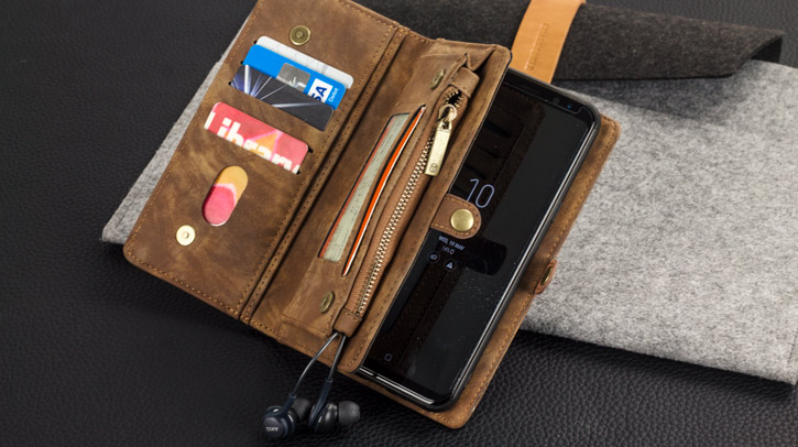 Luxury Samsung Galaxy S8 Leather-Style 2-in-1 Wallet Pouch Case - Tan