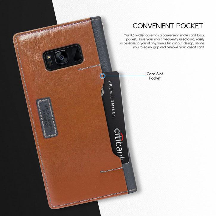 Obliq K3 Samsung Galaxy S8 Wallet Case - Dark Brown / Grey