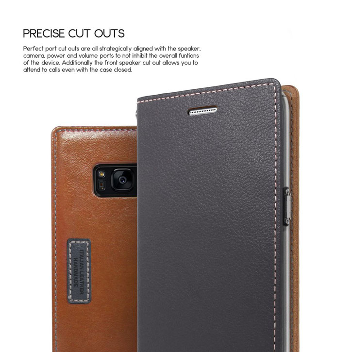 Obliq K3 Samsung Galaxy S8 Wallet Case - Dark Brown / Grey